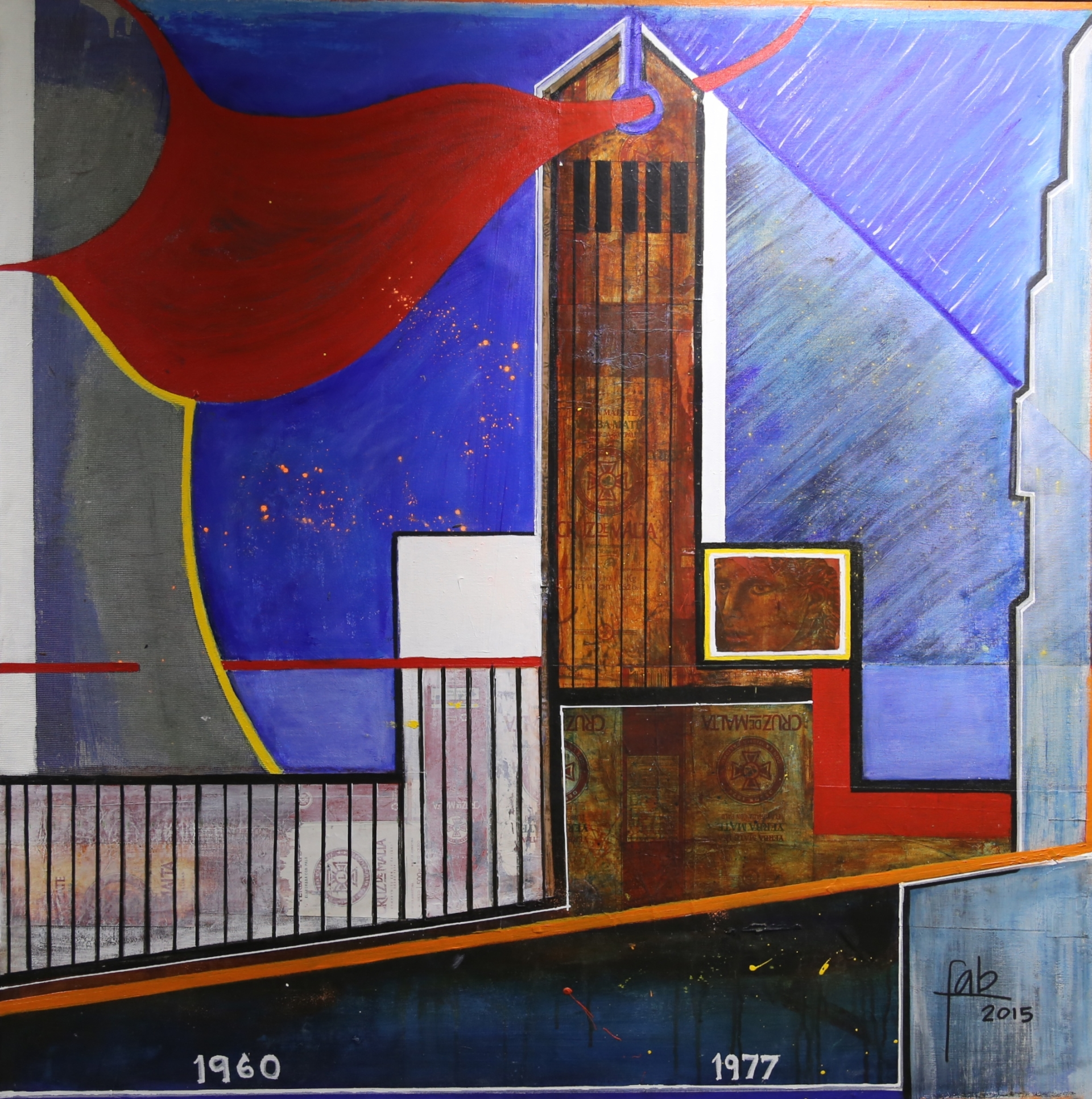 """<b>""""Monumento""""</b><span style= """"font-size:14px"""">(2015)</span><br><p style = """"font-size:14px"""">Acrylic on canvas and wood<br> 45 in x 45 in<br>  © Flavio Bisciotti</p>"""