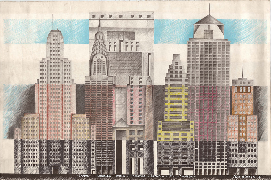 "<b>""Cityscape I""</b> <span style= ""font-size:14px"">(1985)</span><br><p style = ""font-size:14px"">Ink and color pencil on paper<br>26 in x 39 in.<br>©Flavio Bisciotti</p>"
