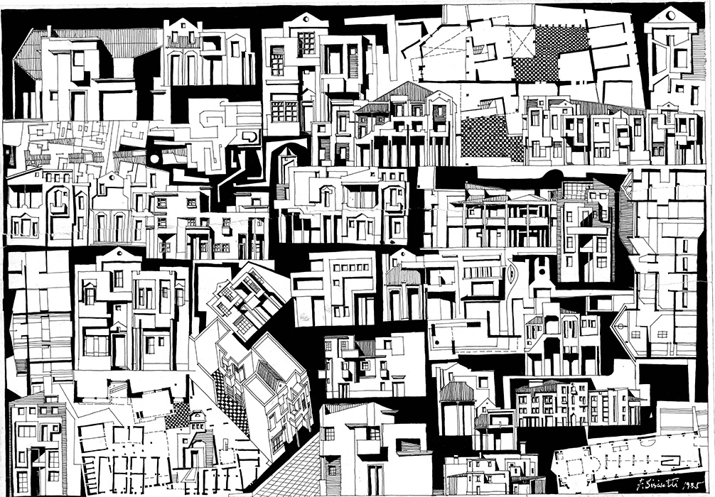"<b>""Urban Sketches II""</b> <span style= ""font-size:14px"">(1985)</span><br><p style = ""font-size:14px"">Ink on paper<br> 26 in x 39 in<br>© Flavio Bisciotti</p>"