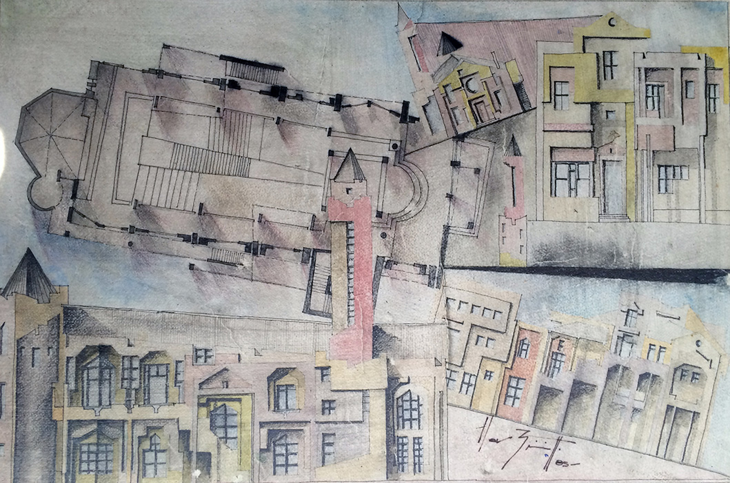 Urban (1985)<br> Watercolor on paper and wood<br> 24 in x 16 in<br><br> © Flavio Bisciotti