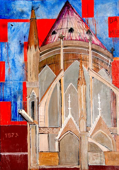 Paris - Notre Dame (2011)<br> Acrylic on canvas<br> 48 in x 70 in<br><br> © Flavio Bisciotti