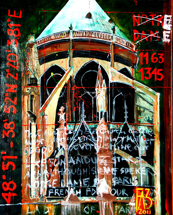 """<b>""""Architectural Landscape (Paris) Notre Dame """"</b><span style= """"font-size:14px"""">(2011)</span><br><p style = """"font-size:14px"""">  Acrylic on wood<br> 48 in x 70 in<br>© Flavio Bisciotti</p>"""