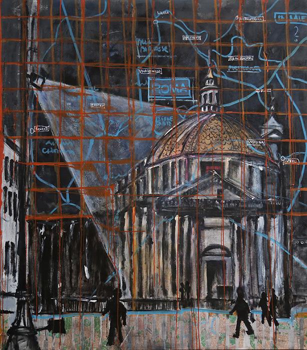"<b>""Roma""</b><span style= ""font-size:14px"">(2015)</span><br><p style = ""font-size:14px"">   Acrylic on canvas<br> 54 in x 60 in<br> © Flavio Bisciotti</p>"