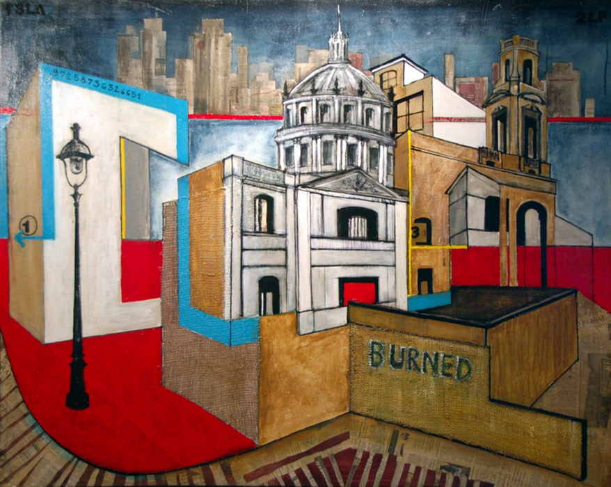 "<b>""Architectural Landscape (Paris) LF""</b> <span style= ""font-size:14px"">(2009)</span><br><p style = ""font-size:14px""> Acrylic on canvas<br> 60 in x 48 in<br>  © Flavio Bisciotti</p>"