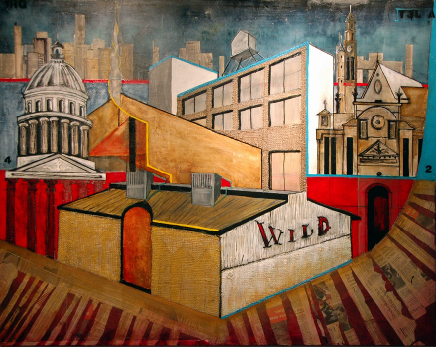 "<b>""Architectural Landscape (Paris) RG""</b><span style= ""font-size:14px"">(2009)</span><br><p style = ""font-size:14px""> Acrylic on canvas<br> 60 in x 48 in<br> © Flavio Bisciotti</p>"