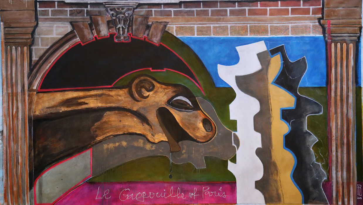 "<b>""Le Gargouille Du Paris (Punta Ballena) ""</b><span style= ""font-size:14px"">(2015)</span><br><p style = ""font-size:14px"">  Acrylic on canvas<br> 52 in x 89 in<br> © Flavio Bisciotti</p>"