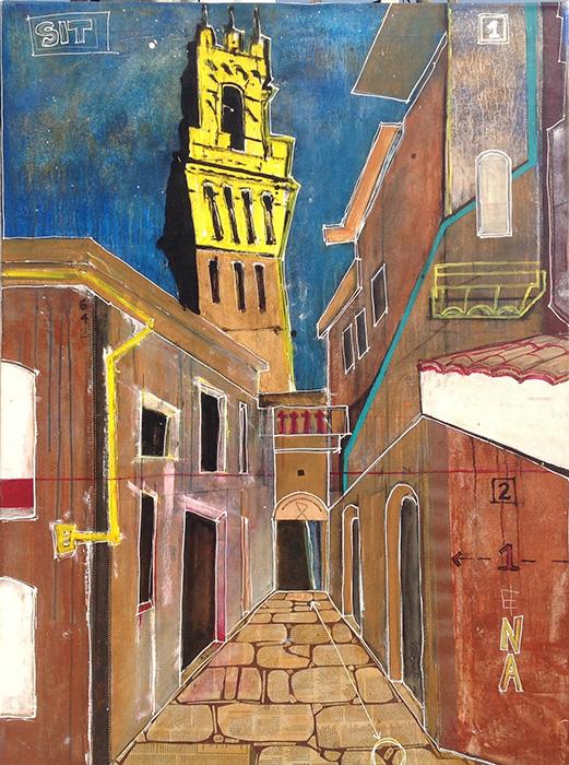 """<b>""""Sienna """"</b><span style= """"font-size:14px"""">(2012)</span><br><p style = """"font-size:14px"""">  Acrylic on canvas<br> 48 in x 70 in<br> © Flavio Bisciotti</p>"""