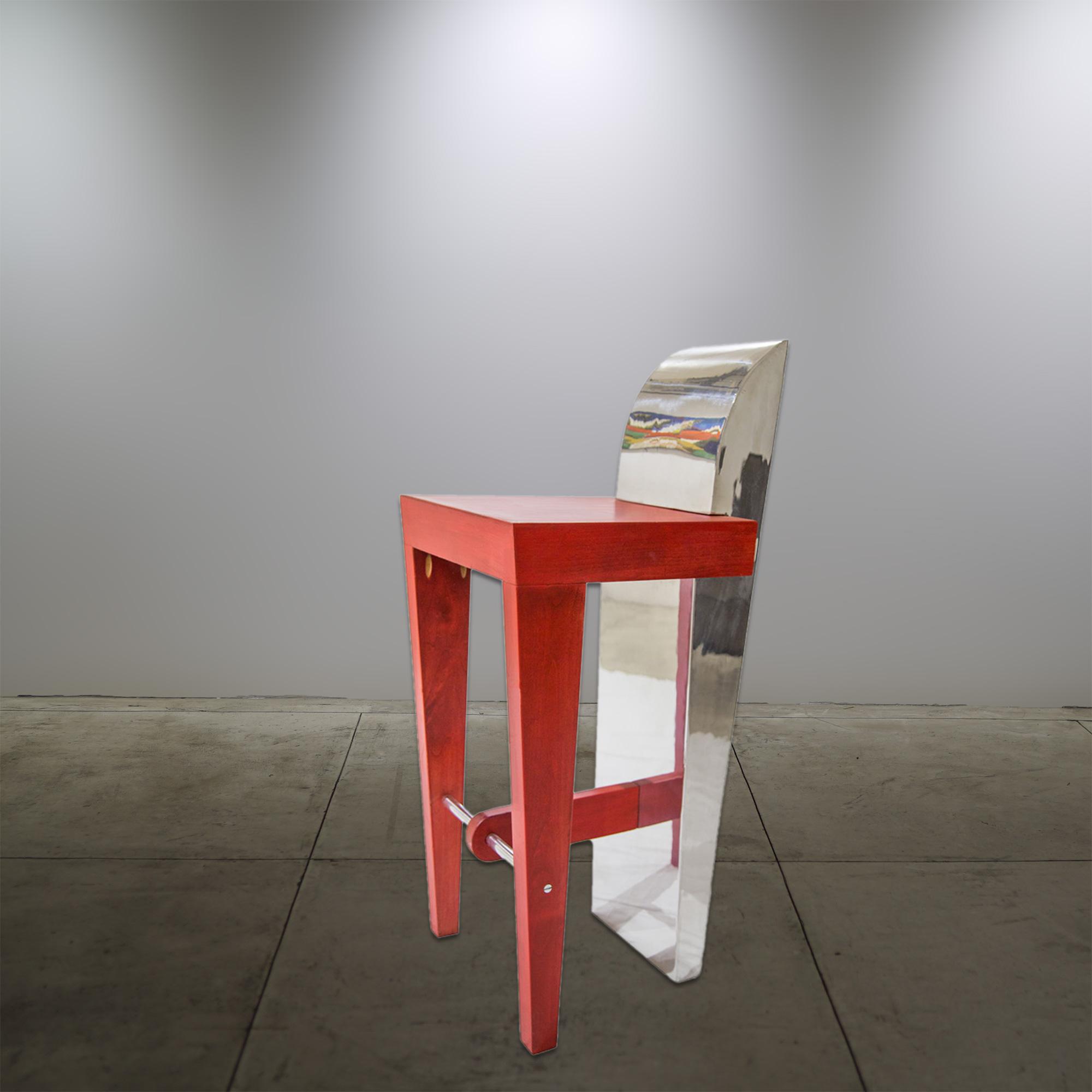 Aluminum Barstool Red - © Flavio Bisciotti