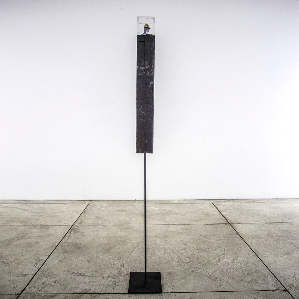 """Homenaje"" Charles Romuald Gardes 1890-1935 - Metal base, burned wood, Carlos Gardel mini broken sculpture acrylic box - 3-1/2""x3-1/2""x58"" - © Flavio Bisciotti"
