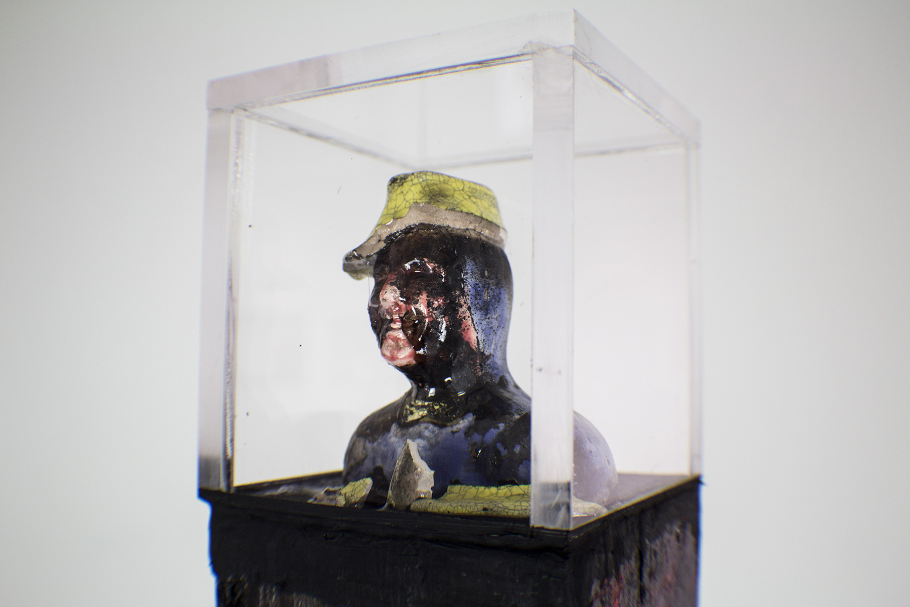 """Homenaje"" Charles Romuald Gardes 1890-1935 - Metal base, burned wood, Carlos Gardel mini broken sculpture acrylic box - 3-1/2""x3-1/2""x58"" - © Flavio Bisciotti"