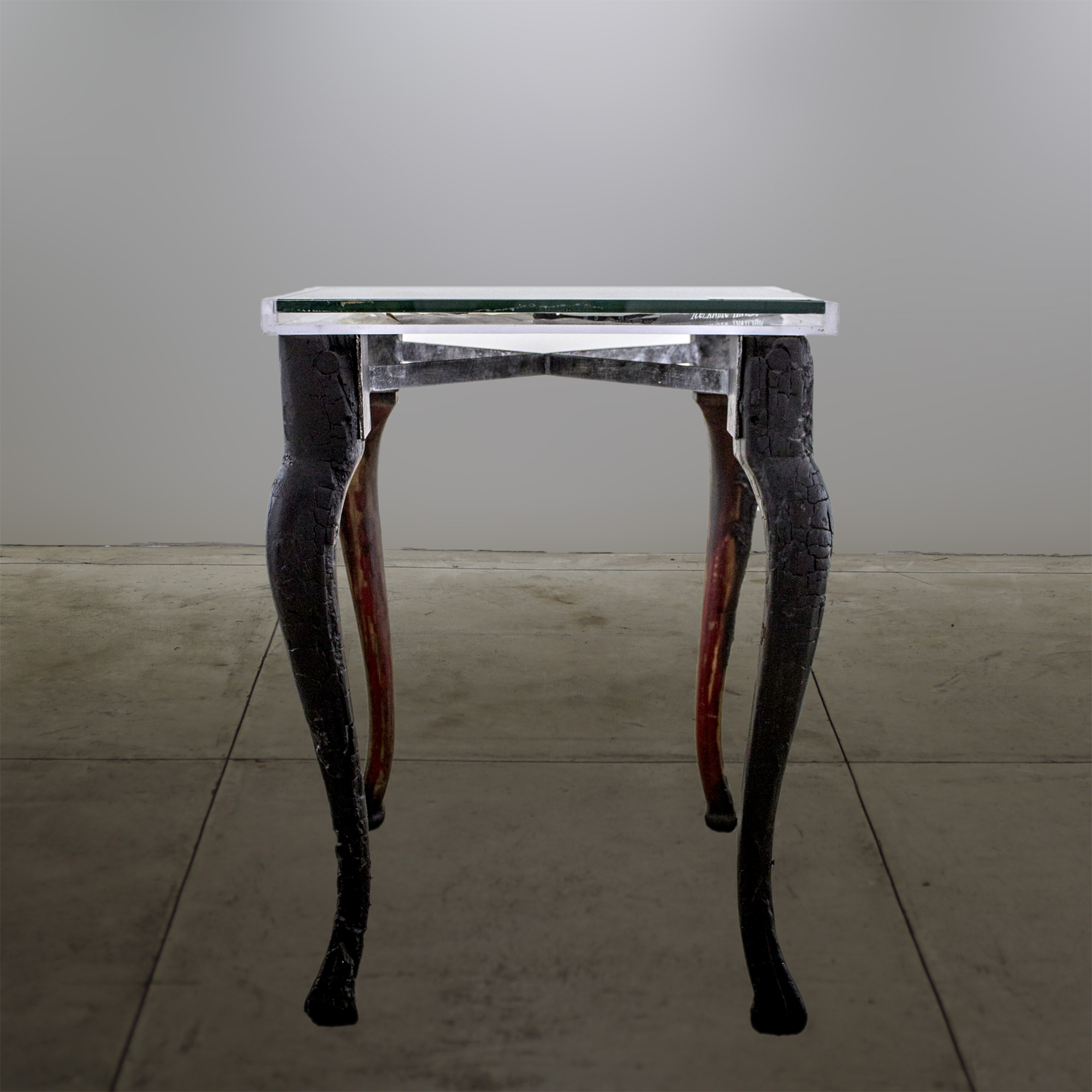 """Champagne Side Table"" - Burned table legs and acrylic top - 21""x21""x29-1/2"" - © Flavio Bisciotti"