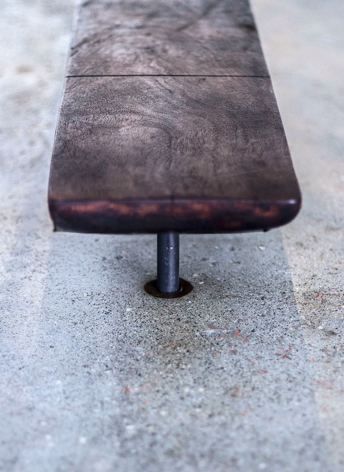 """12 guests garden table"" - Metal base concrete top, electrical fixture and broken china - 28""x108""x29"" - © Flavio Bisciotti"
