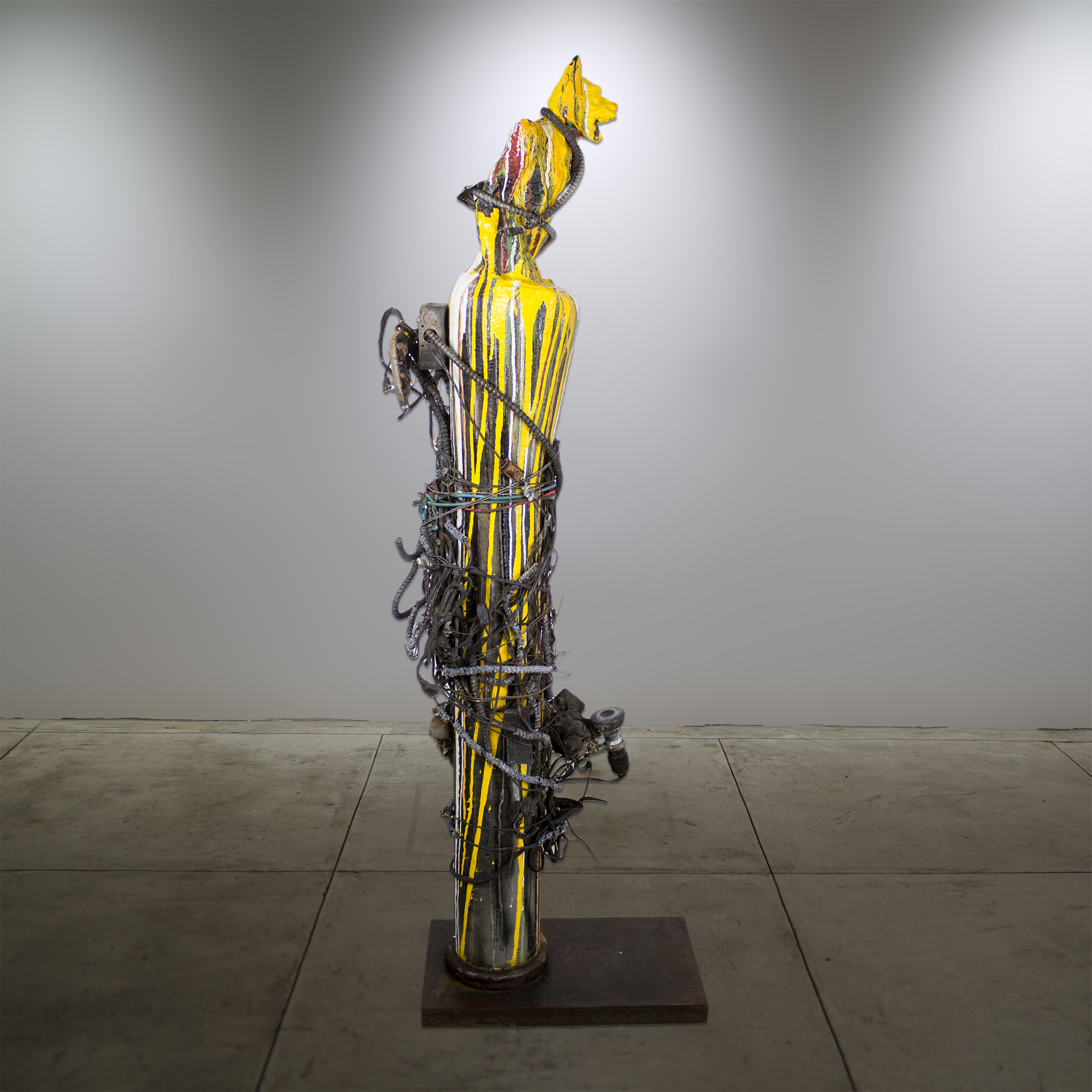 """Gargoyle rising from the ashes"" - Sculpture, Metal base, Concrete, Gargoyle - 20""x11""x63"" - © Flavio Bisciotti"