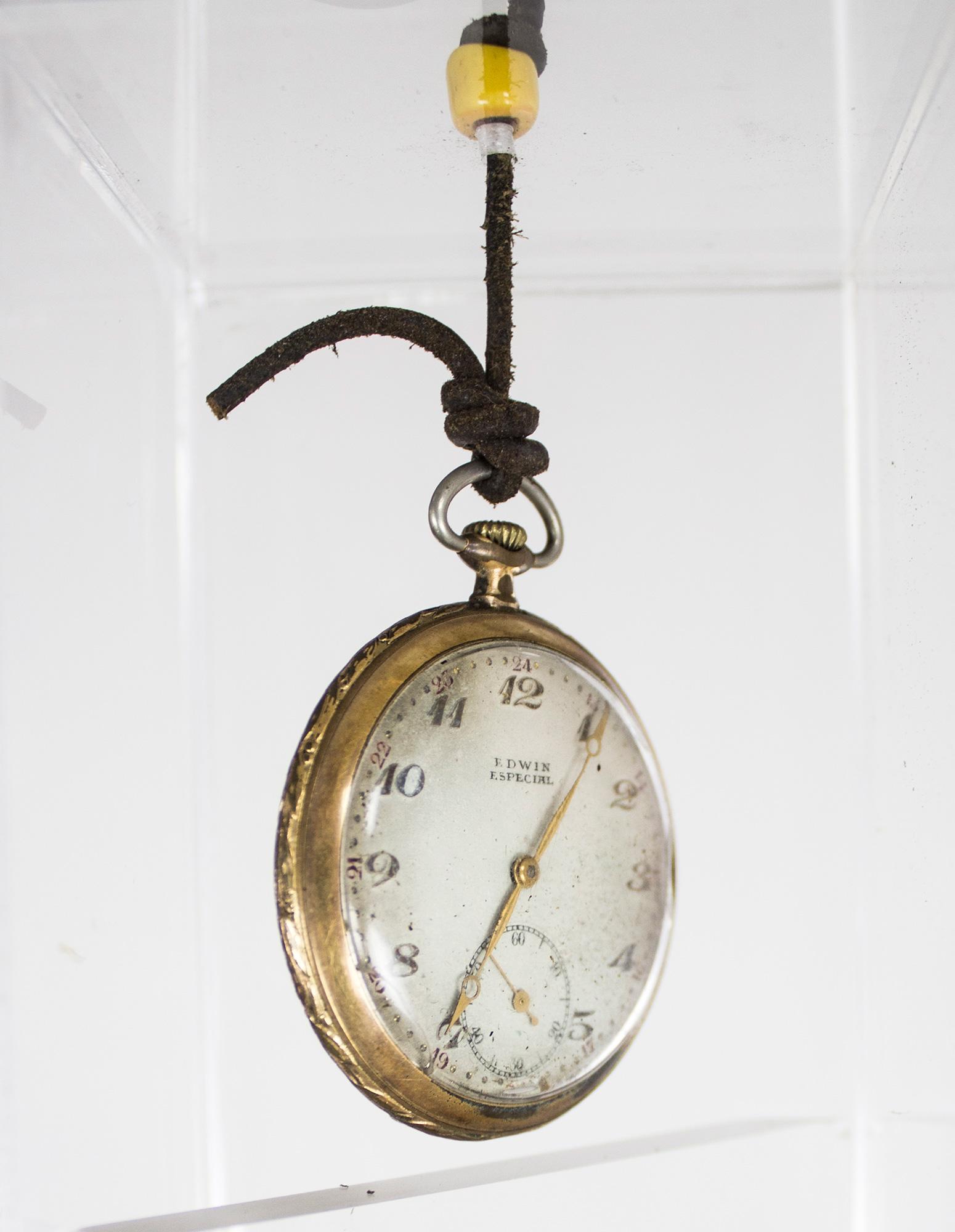 """Time"" - Sculpture, Metal base, burned wood, Watches, Acrylic Box - 4""x4""x67-1/2"" - © Flavio Bisciotti"