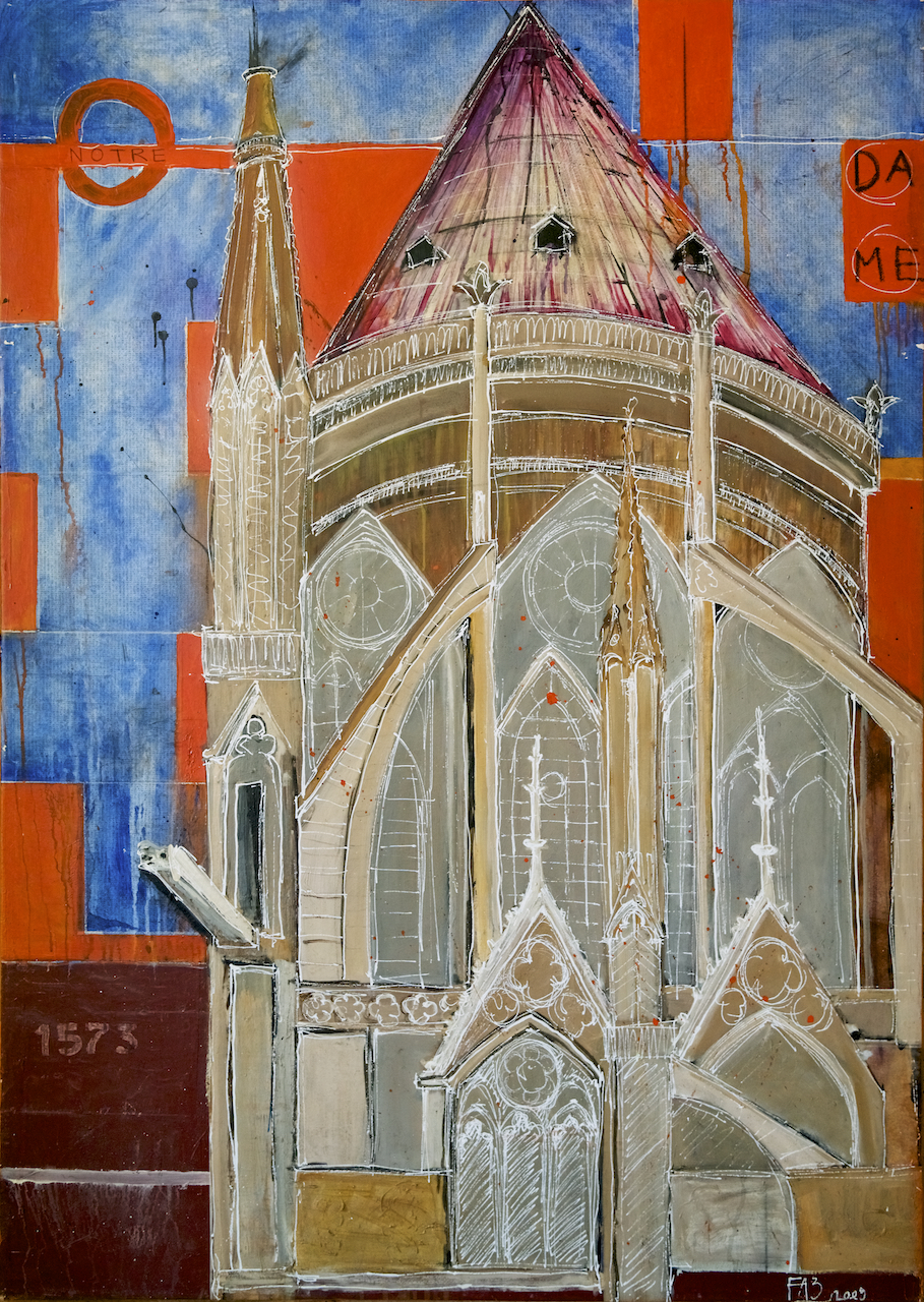 "<b>""Paris - Notre Dame ""</b><span style= ""font-size:14px"">(2011)</span><br><p style = ""font-size:14px""> Acrylic on canvas<br> 48 in x 70 in<br> © Flavio Bisciotti</p>"