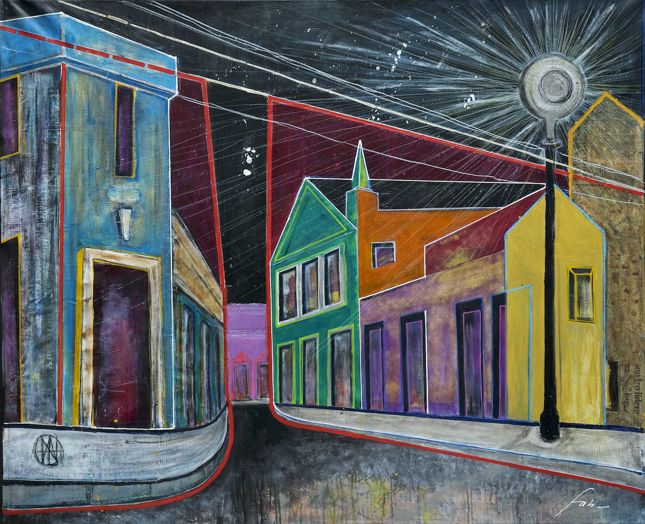 "<b>""Olinda at Night""</b> <span style= ""font-size:14px"">(2018)</span> <br><p style = ""font-size:14px"">Acrylic on canvas<br>49 x 60 in; 124 x 152 cm</p>"