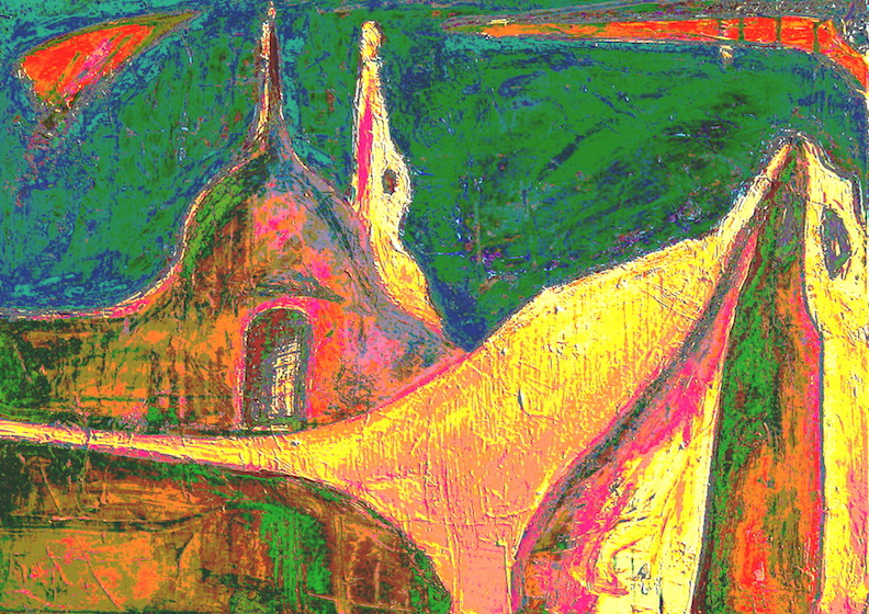 "<b>""Casa Pueblo II""</b> <span style= ""font-size:14px"">(2011)</span><br><p style = ""font-size:14px"">Acrylic on canvas<br> 22x16 40x56 cm<br>© Flavio Bisciotti</p>"