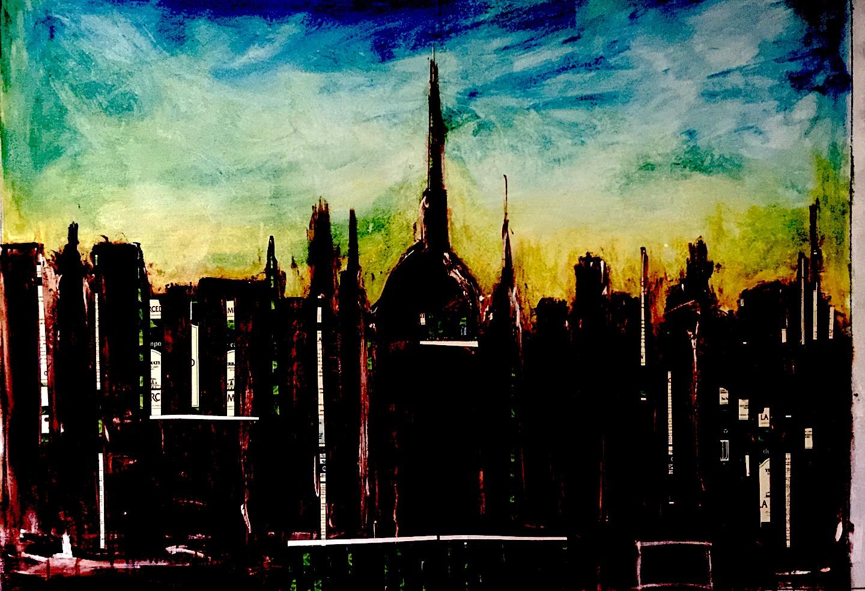 """<b>""""Am in BA""""</b><span style= """"font-size:14px"""">(2016)</span><br><p style = """"font-size:14px"""">  Acrylic on canvas<br><br> 36 x 48 in; 91 x 121 cm<br>© Flavio Bisciotti</p>"""