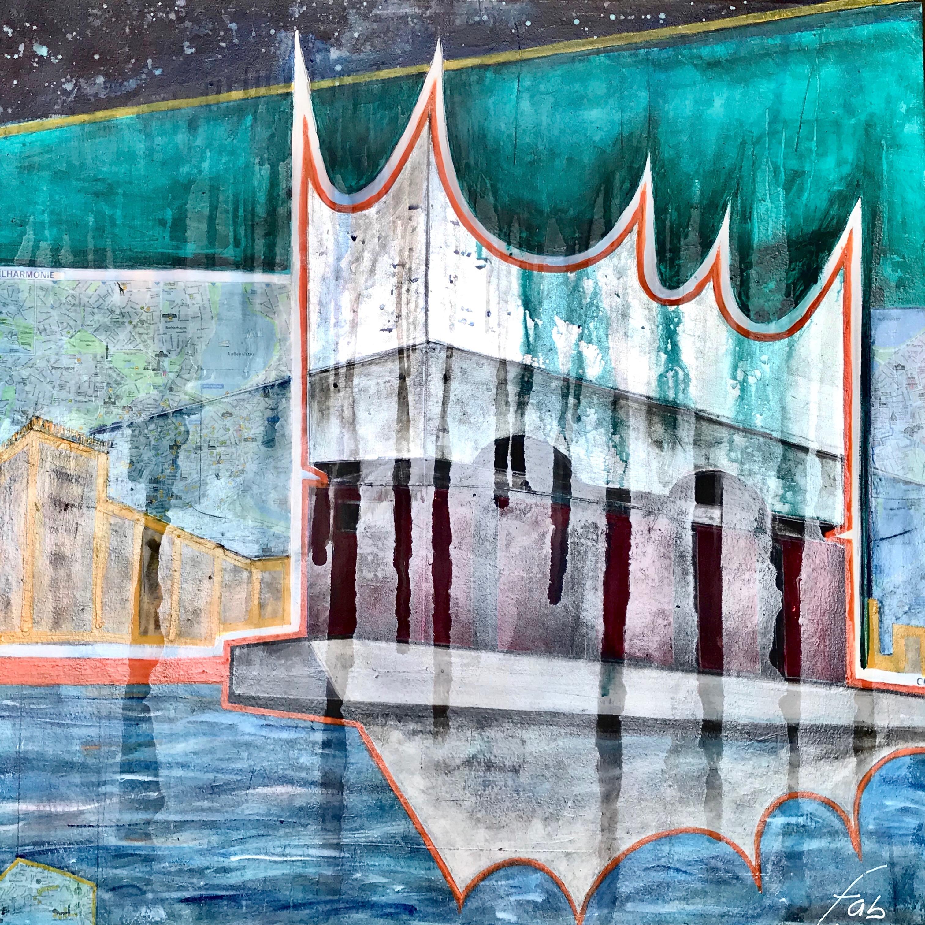"""<b>""""Elbphilharmonie II""""</b> <span style= """"font-size:14px"""">(2018)</span> <br><p style = """"font-size:14px"""">Acrylic on canvas<br>39 x 39 in; 135 x 135 cm</p>"""