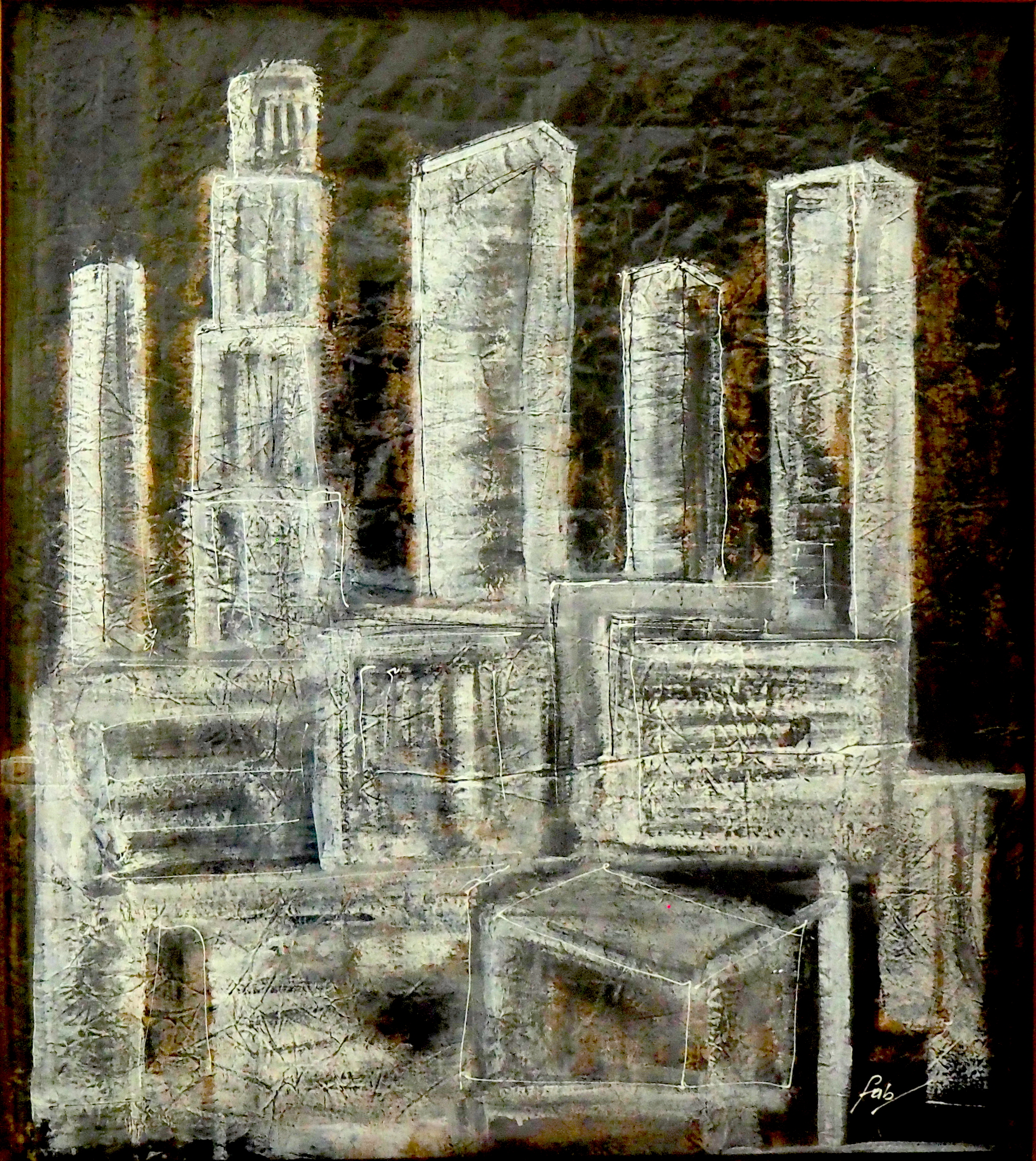 Cityscape I (1985)<br> Ink and color pencil on paper<br> 26 in x 39 in<br><br> ©Flavio Bisciotti