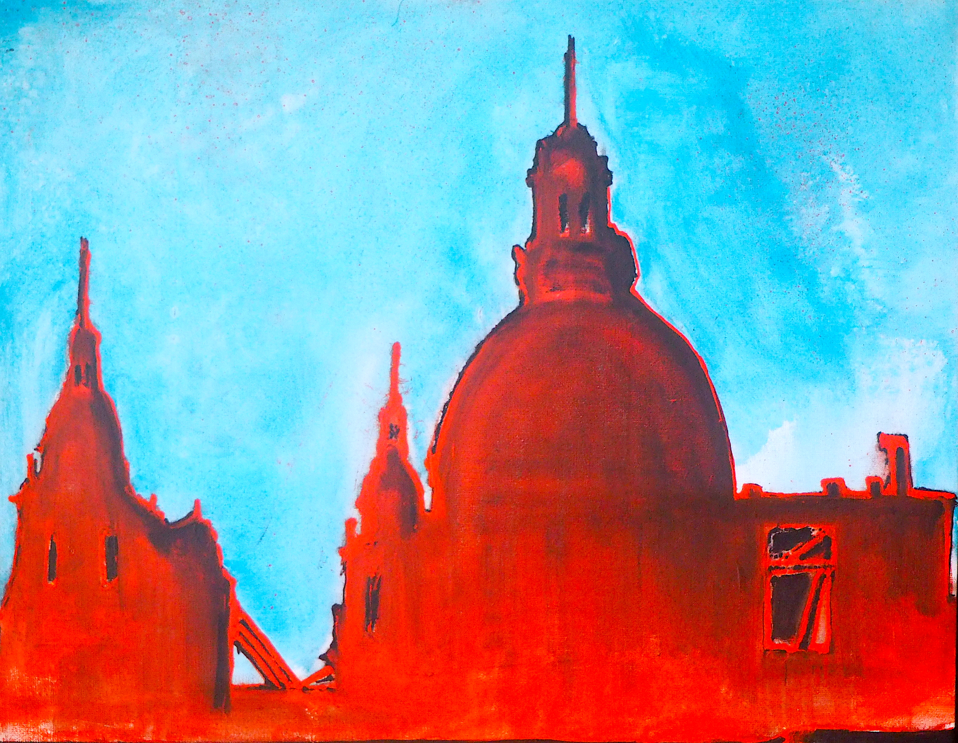 """<b>""""Paris""""</b> <span style= """"font-size:14px"""">(2019)</span> <br><p style = """"font-size:14px"""">Acrylic on canvas<br>15 x 19 in.</p>"""