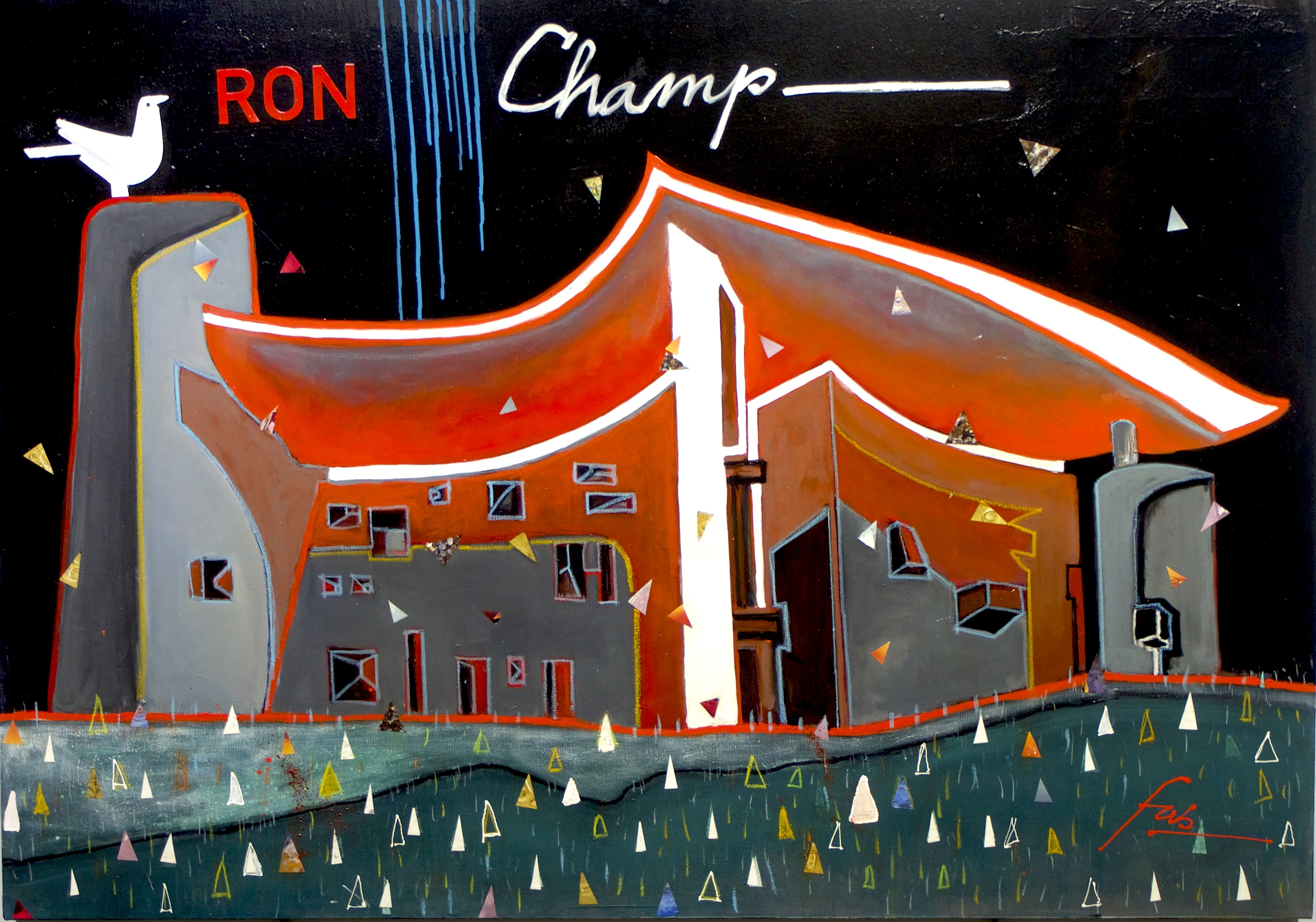 "<b>""Ronchamp""</b> <span style= ""font-size:14px"">(2019)</span> <br><p style = ""font-size:14px"">Acrylic on canvas<br>38 x 54 in.</p>"