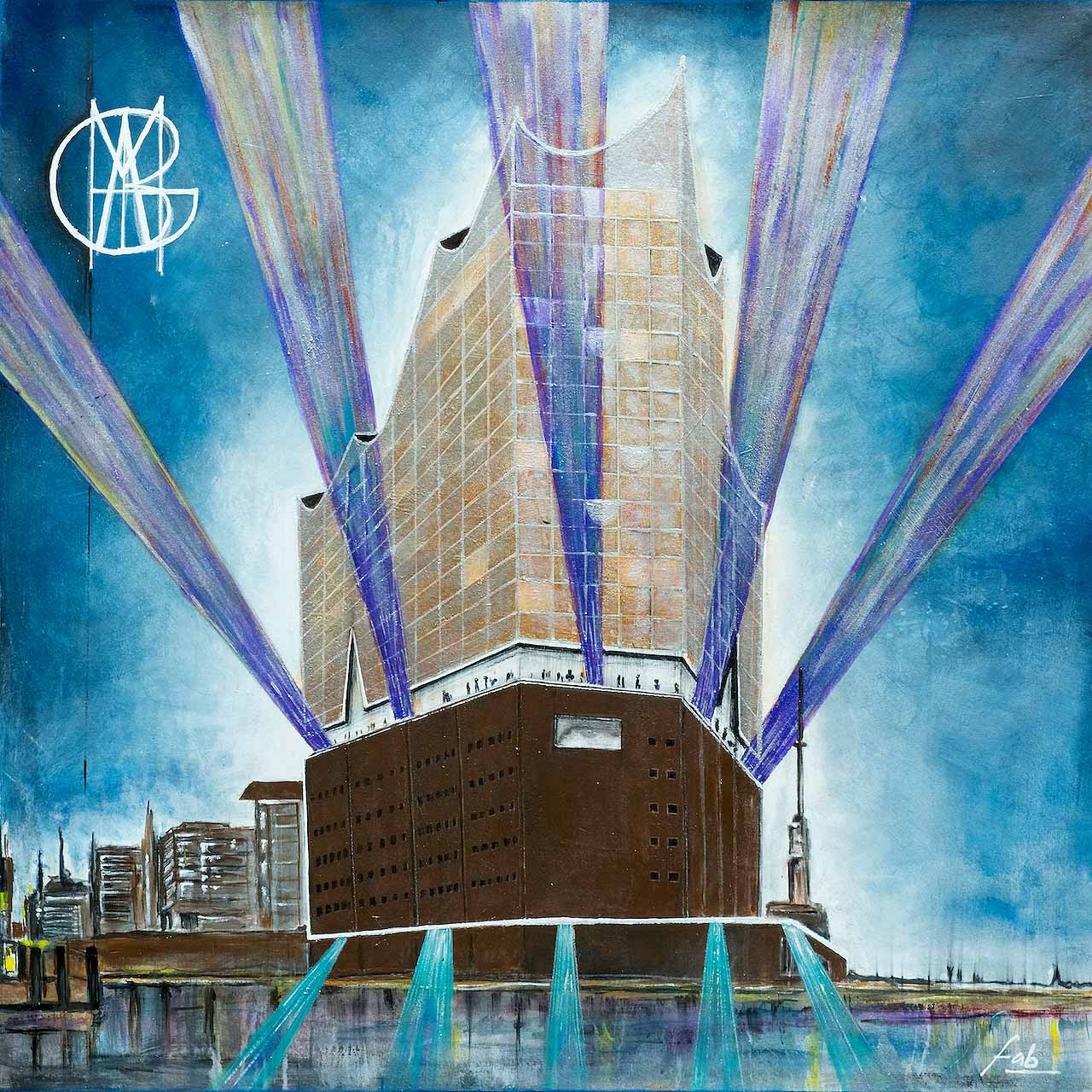 "<b>""Elbphilharmonie""</b> <span style= ""font-size:14px"">(2018)</span> <br><p style = ""font-size:14px"">Acrylic on canvas<br>39 x 39 in; 99 x 99 cm</p>"