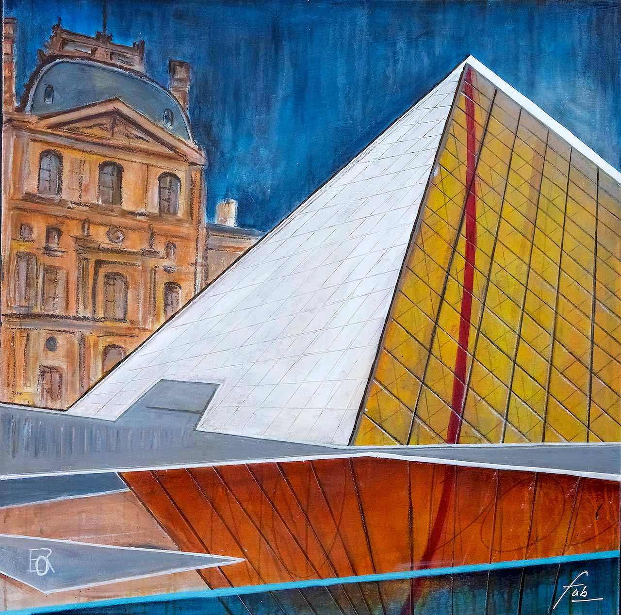 "<b>""Louvre""</b> <span style= ""font-size:14px"">(2018)</span> <br><p style = ""font-size:14px"">Acrylic on canvas<br>39 x 39 in; 99 x 99 cm</p>"